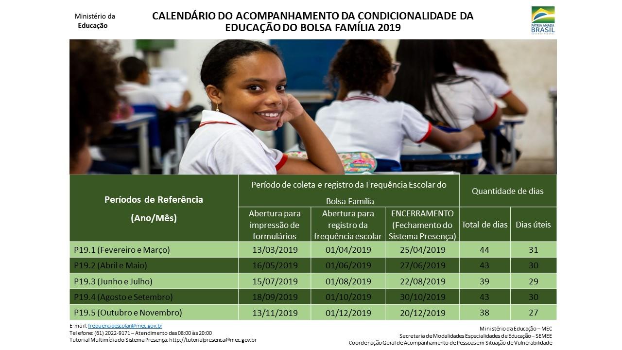 Calendario 2019 Rio Grande Do Sul.Frequencia Escolar Do Programa Bolsa Familia Divulga